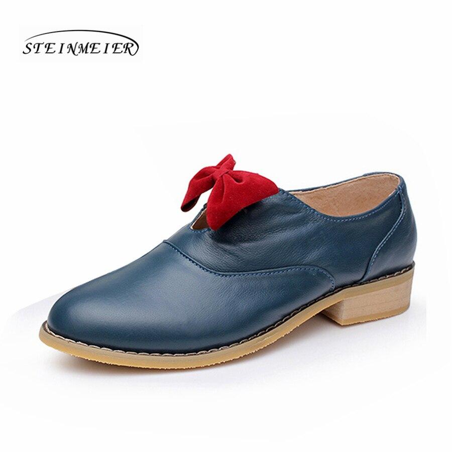 Cuir La Vintage En Pour Oxfords Designer Color Plat À gold other Véritable Chaussures Main Rose Fleur Noir Oxford Blue Femmes z5Hwqd0q
