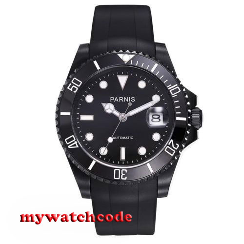 40mm Parnis black dial black PVD case sapphire glass 21 jewels miyota Automatic mens Watch P629 цена и фото