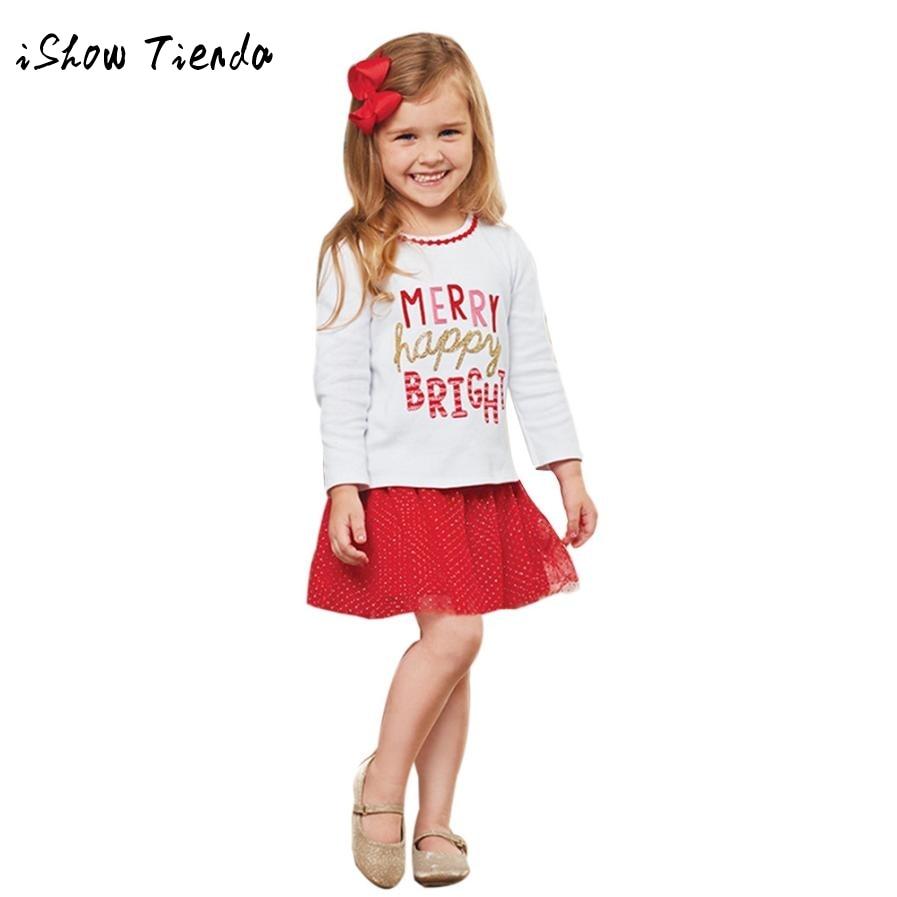 Kids Baby Girl Letter T shirt Tops Princess Skirt Dress Christmas Outfits Set girls dress shirt Sports suit for girls Christmas