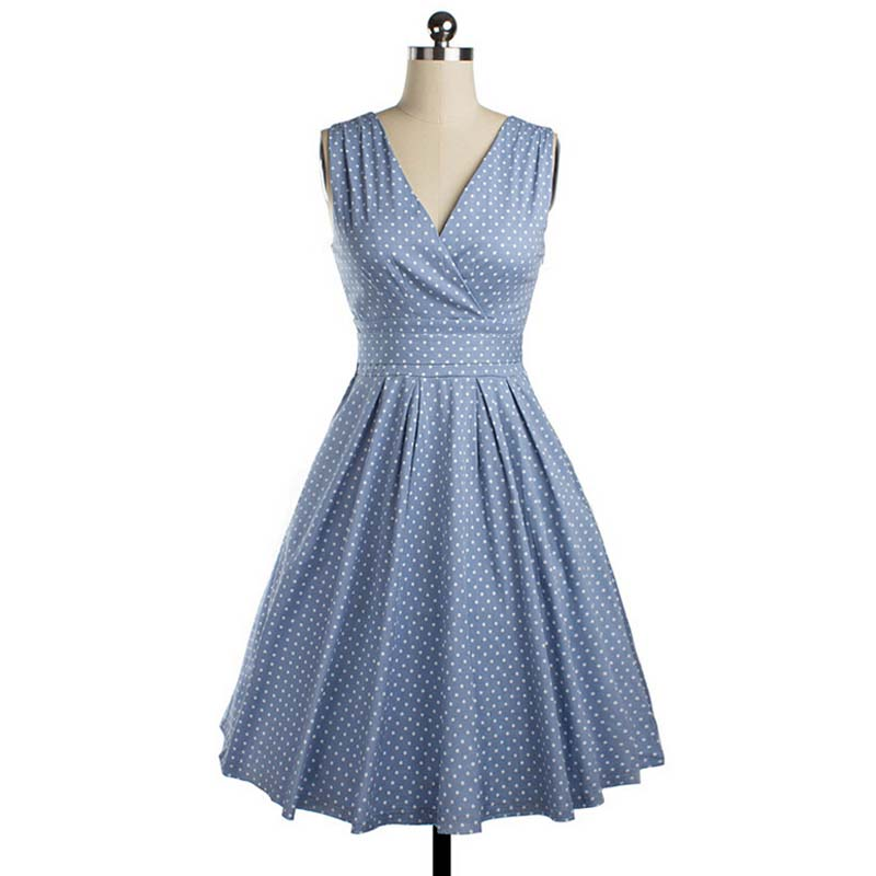 Buy Cheap Women Summer Dress Bow V Neck Dress Vintage Retro Robe Vestidos Pin up Swing Polka Dots Rockabilly Sleeveless Pleated Dresses