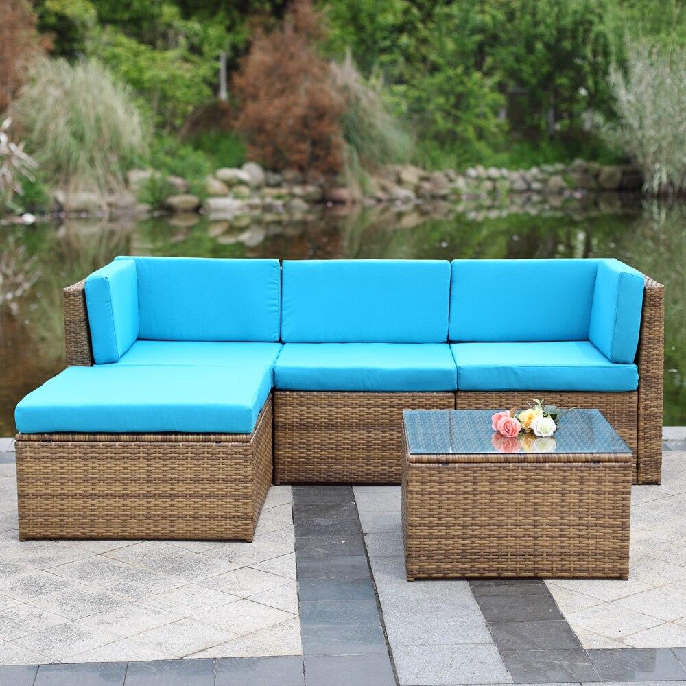 Aliexpress.com : Buy IKayaa UK Stock 5pcs Cushioned Wicker Rattan Outdoor Patio  Garden Furniture Sofa Set Ottoman Corner Couch Mueble Salon De Jardin From  ...