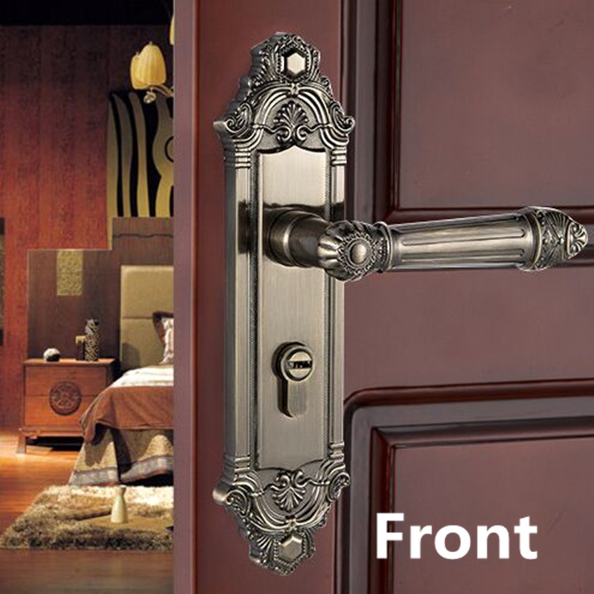 European-style retro quiet mechanical interior door lock bronze bedroom study kitchen bathroom solid wood door lock handle european style retro quiet mechanical interior door lock ivory white bedroom study kitchen bathroom solid wood door lock handle