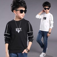 New Big Boys Long Sleeve Letter T Shirts 2018 Spring Children Shirts Kids Outerwear Teenager Boys Tee Kids Clothe Age 5 15 T
