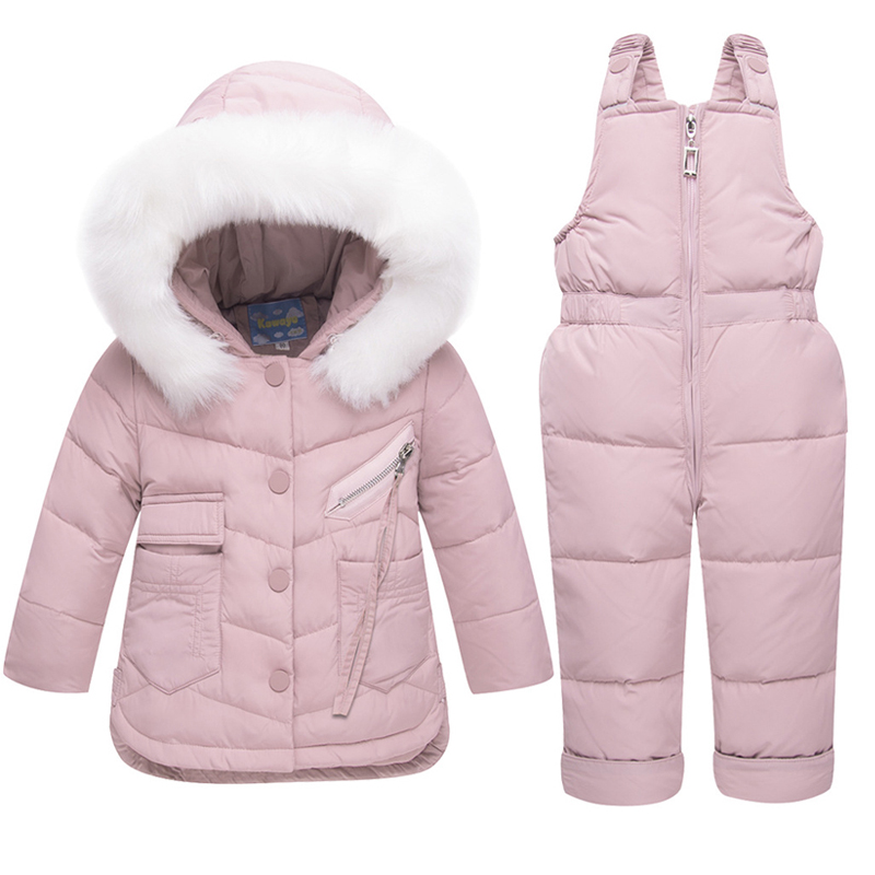 Winter Jacket For Boys Gilrs Child's Down Jackets Overall Kids Hooded Snowsuits Big Fur Parka Children Clothes Set Outwear Down & Parkas     - title=