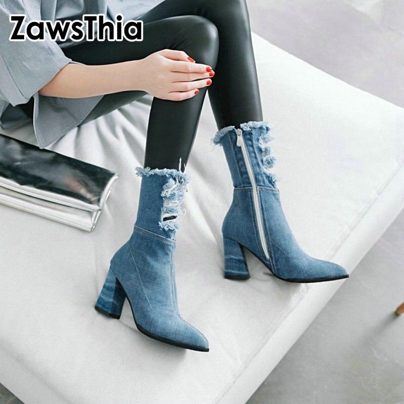 Zawsthia 2020 primavera/outono apontou toe denim botas mulheres bloco de salto alto fino buraco quebrado meados de bezerro menina botas azul sapatos ásperos