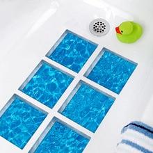 Funlife 3D Bathtub Stickers,Anti Slip Waterproof Self-adhesive Tub Decals,Ripple Ocean Bath Mats Bathroom For Kid,6pcs 15x15cm