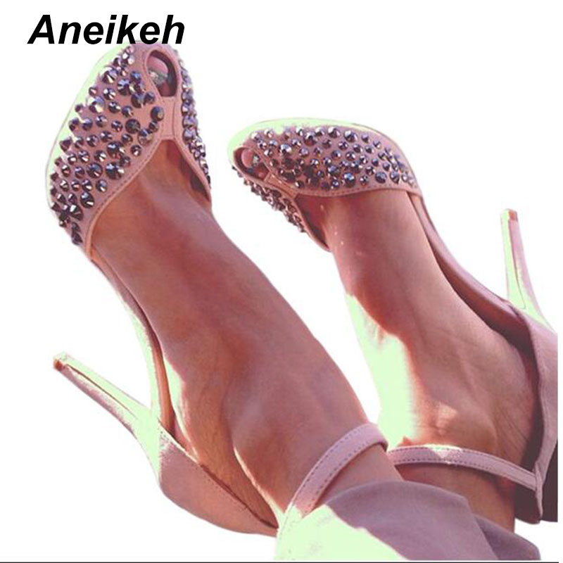купить Aneikeh 2018 Suede Shoes Peep-toe High Heel Ankle Strap Rivets Sandal Women Cut-out Crystal Dress Shoes Pumps Size 35-40 Black онлайн