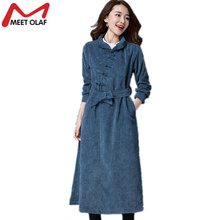 2017 New Fashion Long Trench Coats Women Vintage Corduroy Solid Female Spring Autumn Retro Windbreaker Ladies Overcoats Y1093(China)