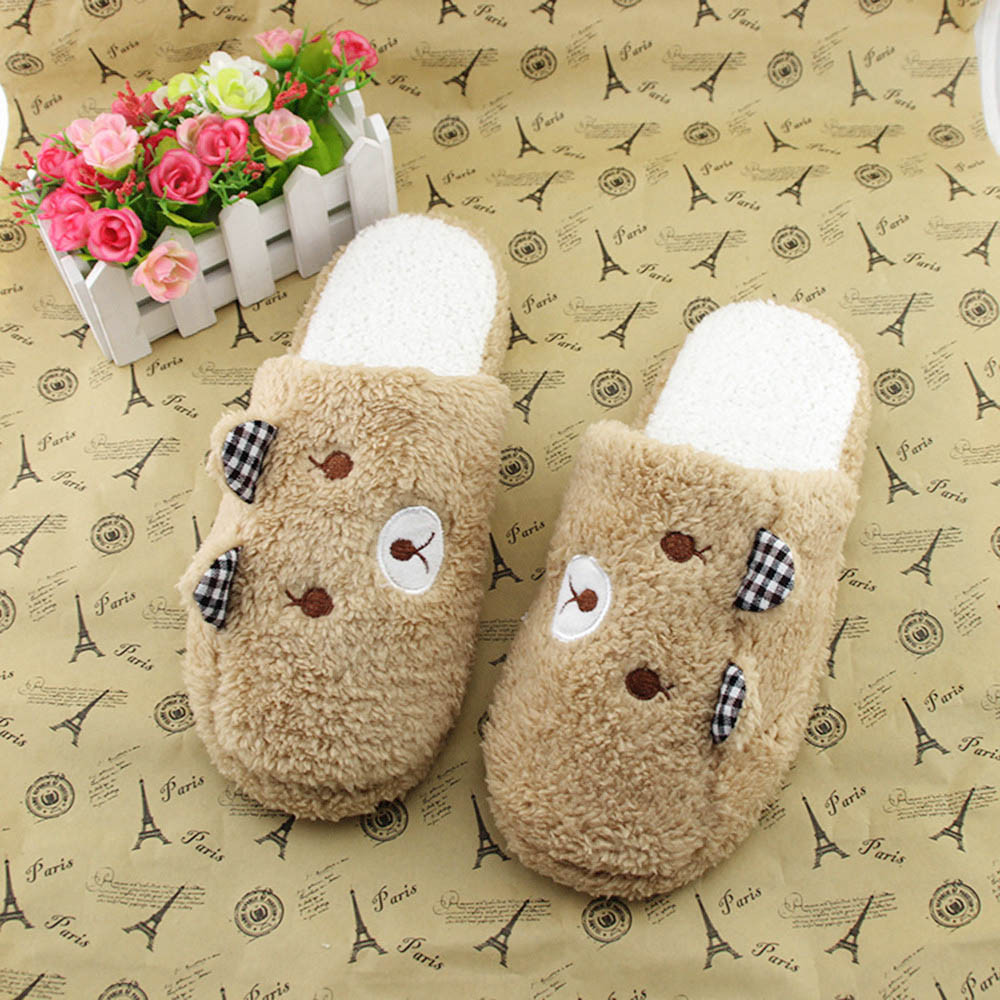 2018 New Fashion Women Shoes Lovely Bear Home Floor Soft Cotton-padded Slippers Winter Female Indoor Slippers sapato feminino @P