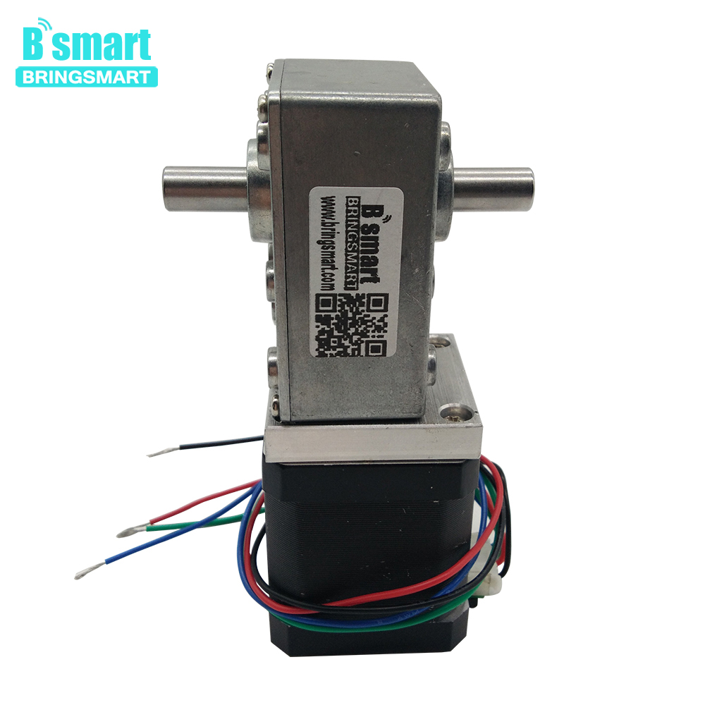 Bringsmart A58SW-42BYS Double Shaft Worm Stepper Gear Motor 12-24V DC Stepping Geared Motor Ratio 1:17 1:32 1:50 Engine Motor nema23 geared stepping motor ratio 50 1 planetary gear stepper motor l76mm 3a 1 8nm 4leads for cnc router