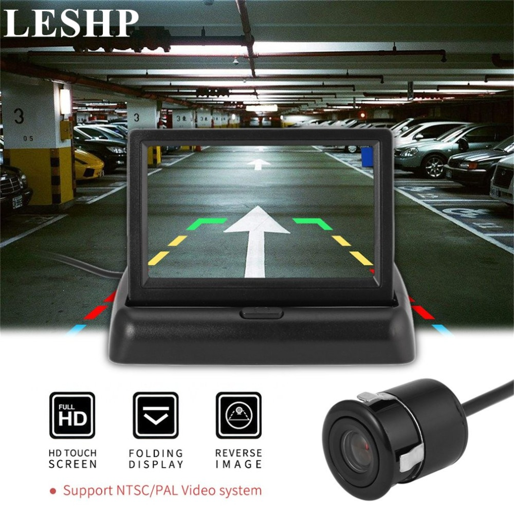 Car Reversing Assistance Kit with Foldable Display + Round Rear View Camera Wateproof Vehicle Wide Angle Parking Backup System