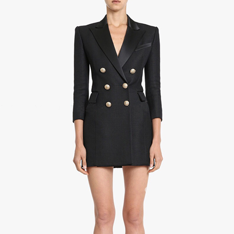 HIGH QUALITY New Fashion 2019 Runway Designer Dress Women's 3/4 Sleeve Double Breasted Metal Buttons Notched Collar Dress-in Dresses from Women's Clothing    1