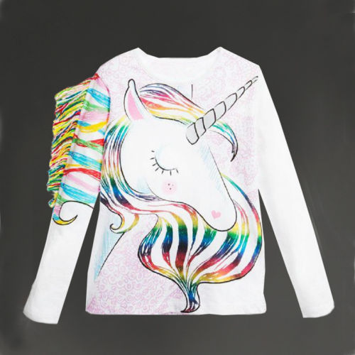 Unicorn Pattern Long Sleeve Tops Clothes 1-6y