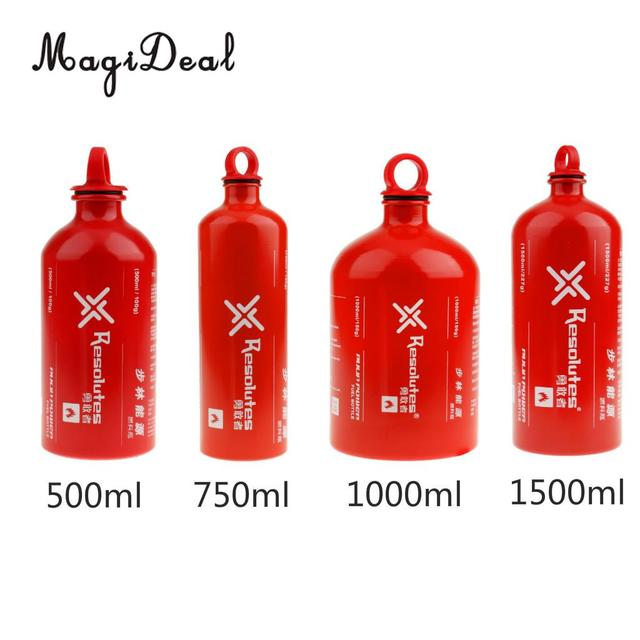 MagiDeal Safety New Lightweight Aluminum Liquid Fuel Bottle Outdoor Camping Stove Gas Oil Container 0.5L/ 0.75L/ 1L/ 1.5L Red