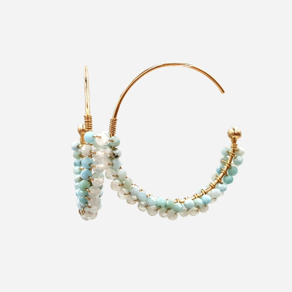Lii Ji Natural Tiny Larimar Moonstone 925 Sterling Silver 18K Gold Plated Hoop Earrings pair of gold plated polished big hoop earrings