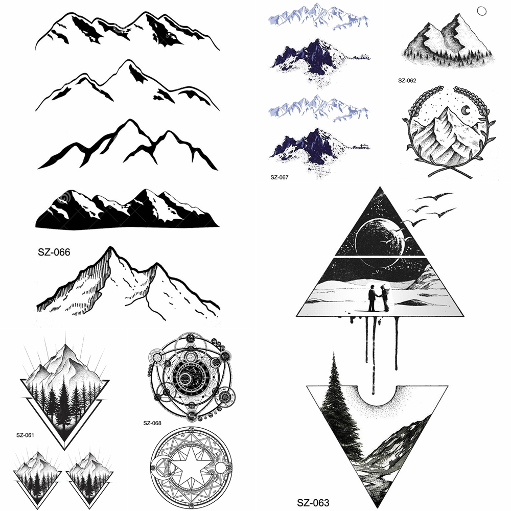 YURAN Black Iceberg Temporary Tattoo Stickers Mountain Arm Art Men Fake Tatoos Triangle Women Rivers Land Water Transfer Tattoo