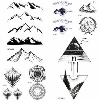 YURAN Black Iceberg Temporary Tattoo Stickers Mountain Arm Art Men Fake Tatoos Triangle Women Rivers Land Water Transfer Tattoo