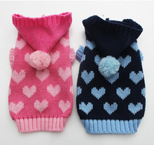 Dog Pet Sweater Hoody Jumper Loves Cat Puppy Coat Jacket Warm Clothes 6 sizes 2 Colours