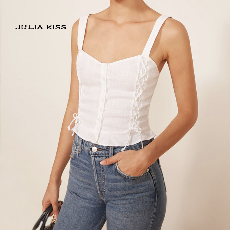 Women Button Front Cami Top With Side Lace Up Detail In