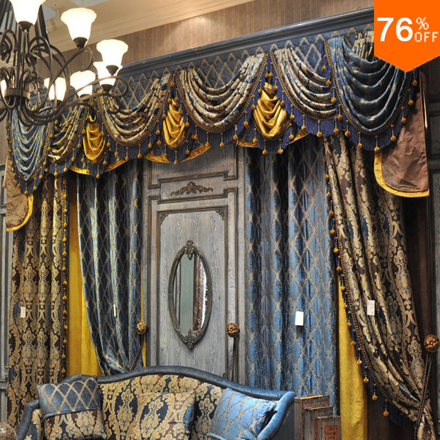Light Royal Blue Sky Blue Golden Living Room Hook Style with valance Curtain for Baroque Boss Room stately baroque count Curtain