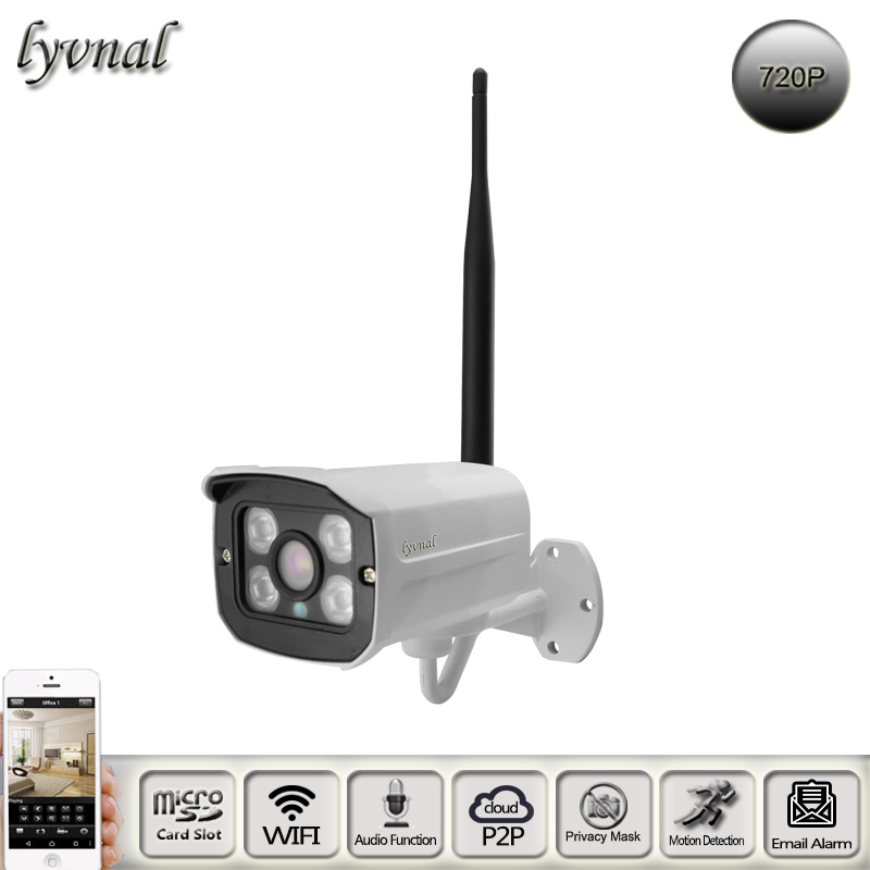 Wireless IP Camera 720p Audio Wifi Camera With SD TF Card Slot Security Onvif P2P Bullet Waterproof Night Vision Wifi System new p2p onvif poe 720p 1 0mp pir mini wifi wireless pinhole ip covert camera tf card slot with audio