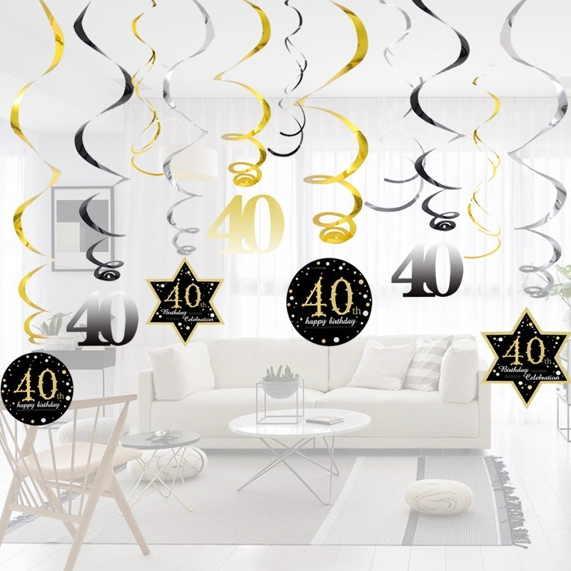 Image 2 - Hot!18/30/40/50/60 Year Olds DIY Spiral Ornaments Birthday Confetti Balloon Birthday Balons Anniversary Party Decorations-in Party DIY Decorations from Home & Garden