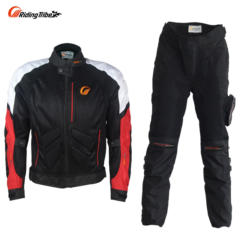 Riding Tribe Summer Motorcycle Racing Clothing Set Men Riding Breathable Jacket Pants Suit with Liner Protector