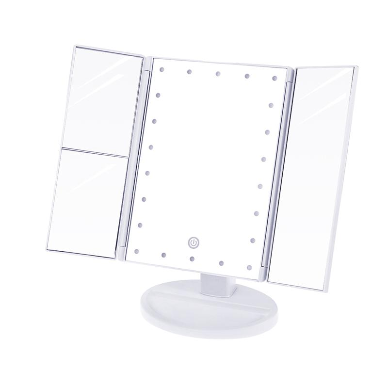 Makeup Mirror LED Lighted With Touch Screen 2x/3x Magnification Cosmetic Mirrors USB Charging Adjustable Stand For Countertop usb 3xaa powered flexible neck 15 led white light desktop mirror w 3x magnification for makeup