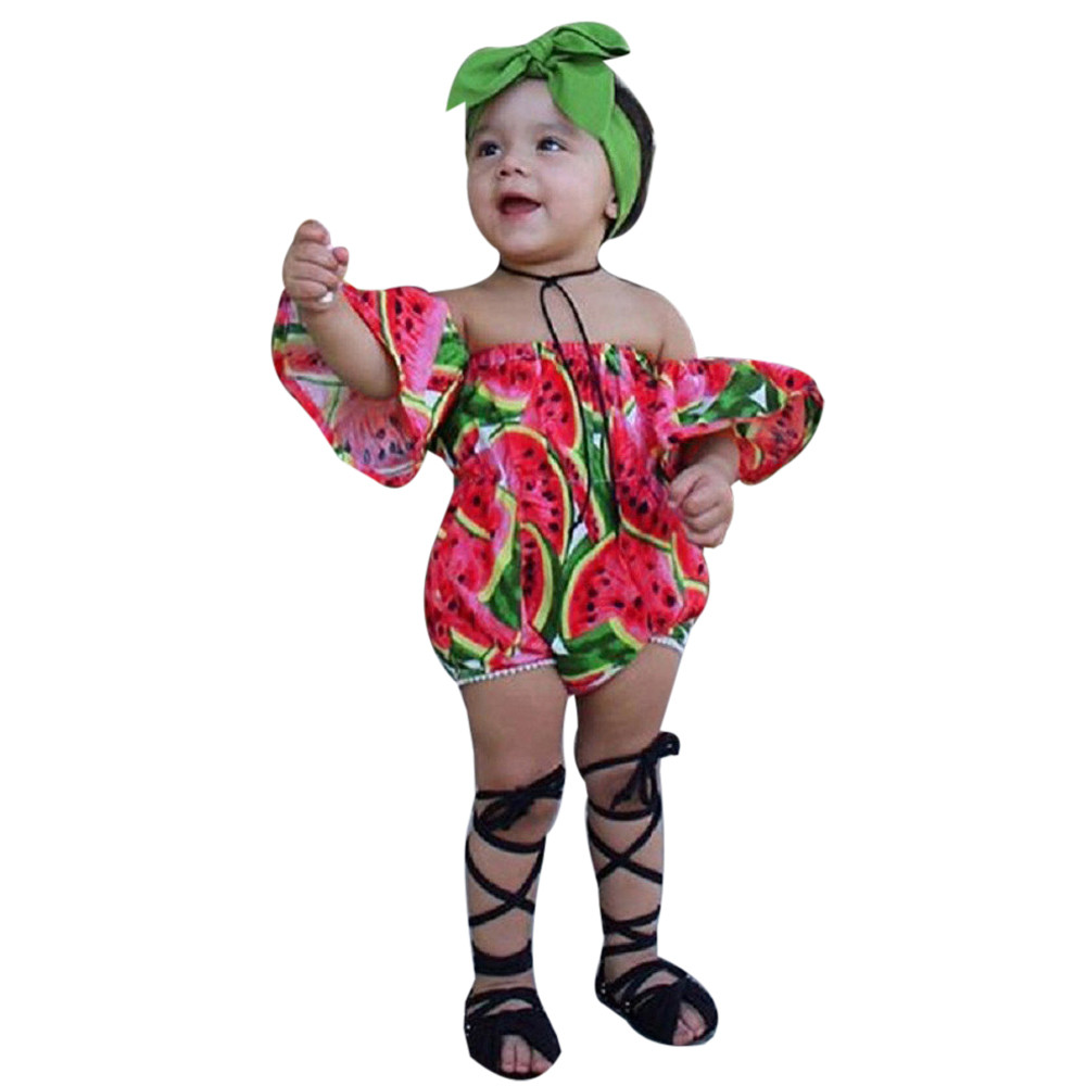 a822289d9 Infant Kids Baby Girl Off Shoulder Short Sleeve Watermelon Floral Romper  Jumpsuit Headband Outfits Clothes Set cotton costumes-in Clothing Sets from  Mother ...