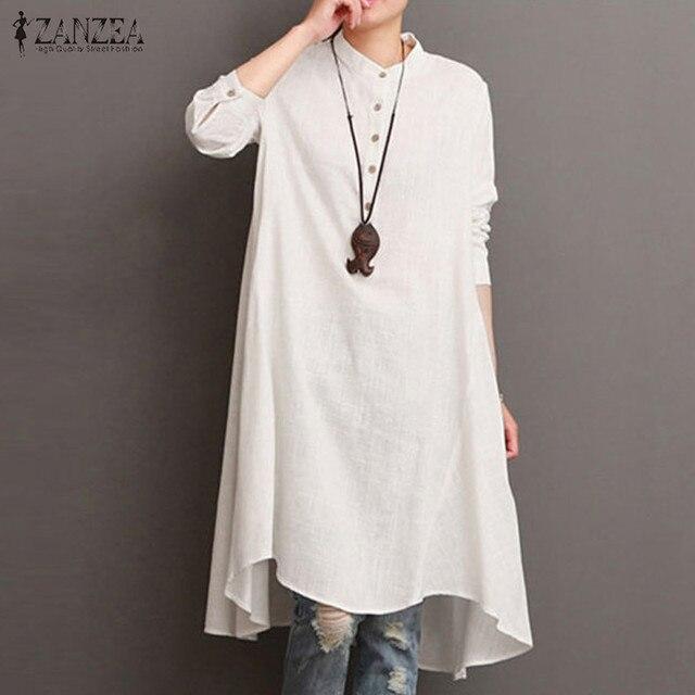 f91f185b41 ZANZEA Women 2018 Autumn Mandarin Long Sleeve Buttons Dress Solid Cotton Linen  Asymmetric Hem Mid-Calf Baggy Vestido Plus Size