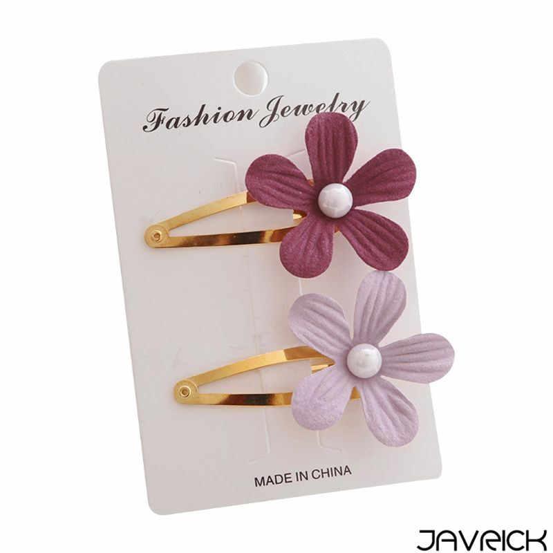 2Pcs/Set Baby Girls Side Bangs BB Hair Clip Imitation Pearl 3D Petals Flower Hairpins Metallic Hollow Water Drop Snap Barrettes