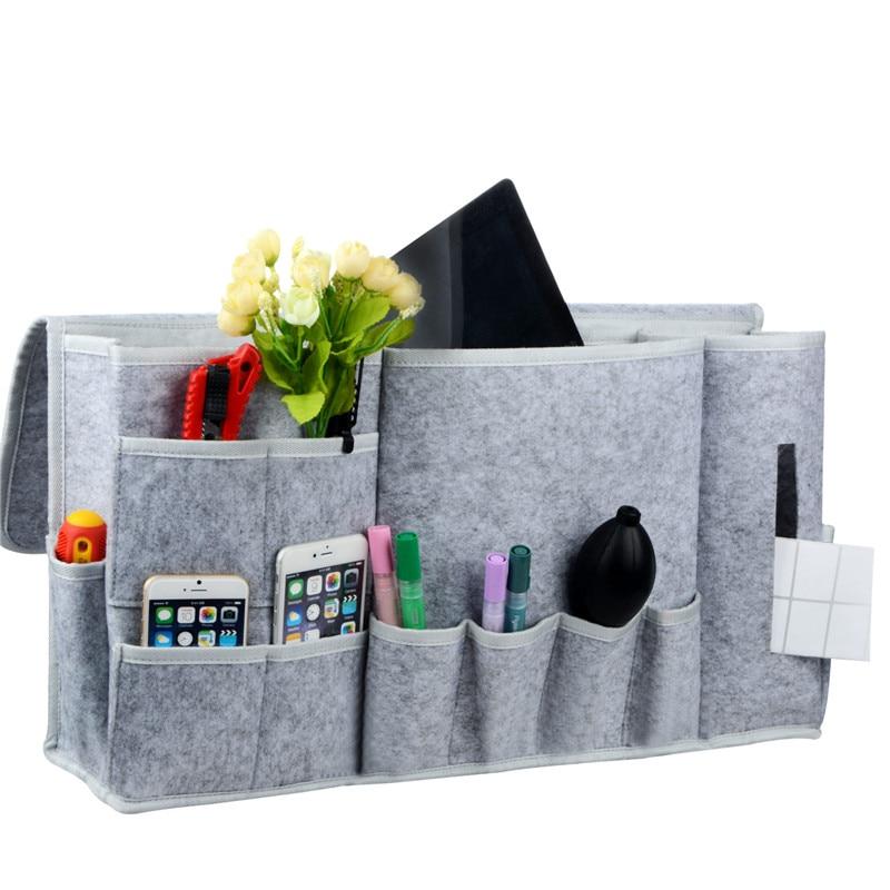 Hot Sale 12 Pocket Bedside Caddy Felt Bedside Table Cabinet Storage