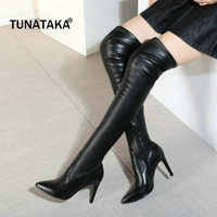 Woman Genuine Leather Thin High Heel Pointed Toe Over The Stretch Knee Boots Fashion Side Zipper