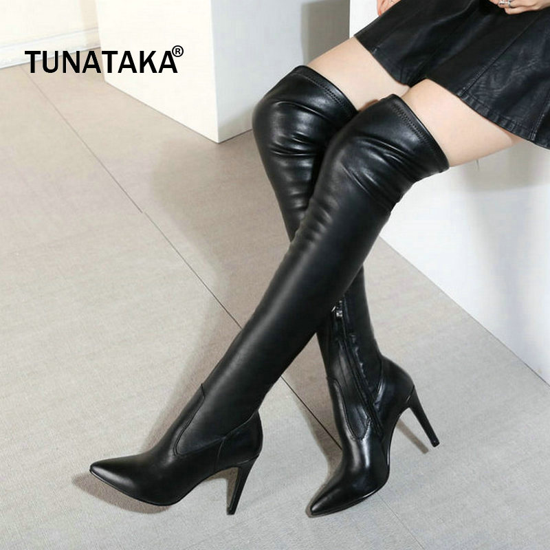 Woman Genuine Leather Thin High Heel Pointed Toe Over The Stretch Knee Boots Fashion Side Zipper Dress Winter Thigh Boots Black winter boots women over the knee boots genuine leather boots thigh high boots female 2017 heel fashion black shoes woman
