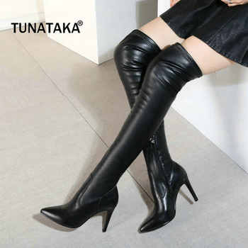 Woman Genuine Leather Thin High Heel Pointed Toe Over The Stretch Knee Boots Fashion Side Zipper Dress Winter Thigh Boots Black - DISCOUNT ITEM  40% OFF All Category