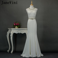 JaneVini Luxurious Beaded Collar Mermaid Bridesmaids Dresses Long Lace Appliques Sexy Women Wedding Guest Party Dresses White