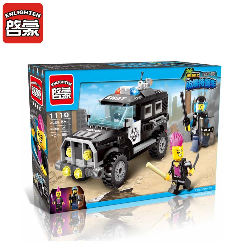 ENLIGHTEN 185pcs City Series Police Swat Car Building Blocks Sets Educational DIY Assembling Bricks Kids Toys Children Gifts city series police car motorcycle building blocks policeman models toys for children boy gifts compatible with legoeinglys 26014