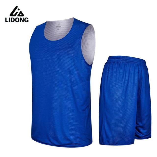 71197d54636 2016 Men's Double-sided Set Wear Reversible Basketball Jersey Clothes  Training Suit Shirt+shorts Uniforms Custom Design Clothing