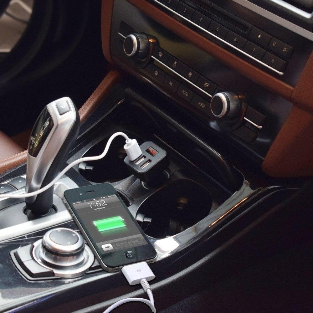 Go2linK Car Charger 5V 2.1A Quick Charge 3 USB Port LED Display Cigarette Lighter