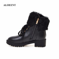 ALOEENT Women Fashion PU Leather Shoes Female Autumn Platform Ankle Boots Woman Lace Up Casual Boots
