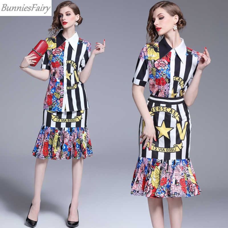Банниесфеи 2019 летнее женское элегантное винтажное ретро черно-белая полосатая блузка с коротким рукавом и юбки-карандаш комплект из двух предметов