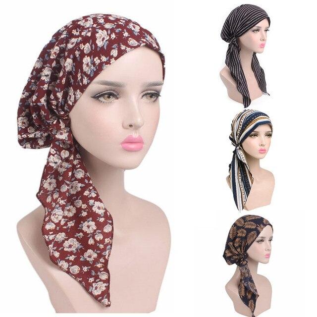Turban Women Headband Ruffle Cancer Chemo Hair Hats Beanie Bandanas Scarf  Head Wrap Headwear Fitness Workout Cap PJ0725 97204b2fcc