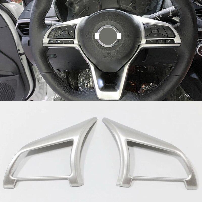 For Nissan Altima L34 2019 Matte Plastic Interior Steering Wheel Cover Trim 2pcs