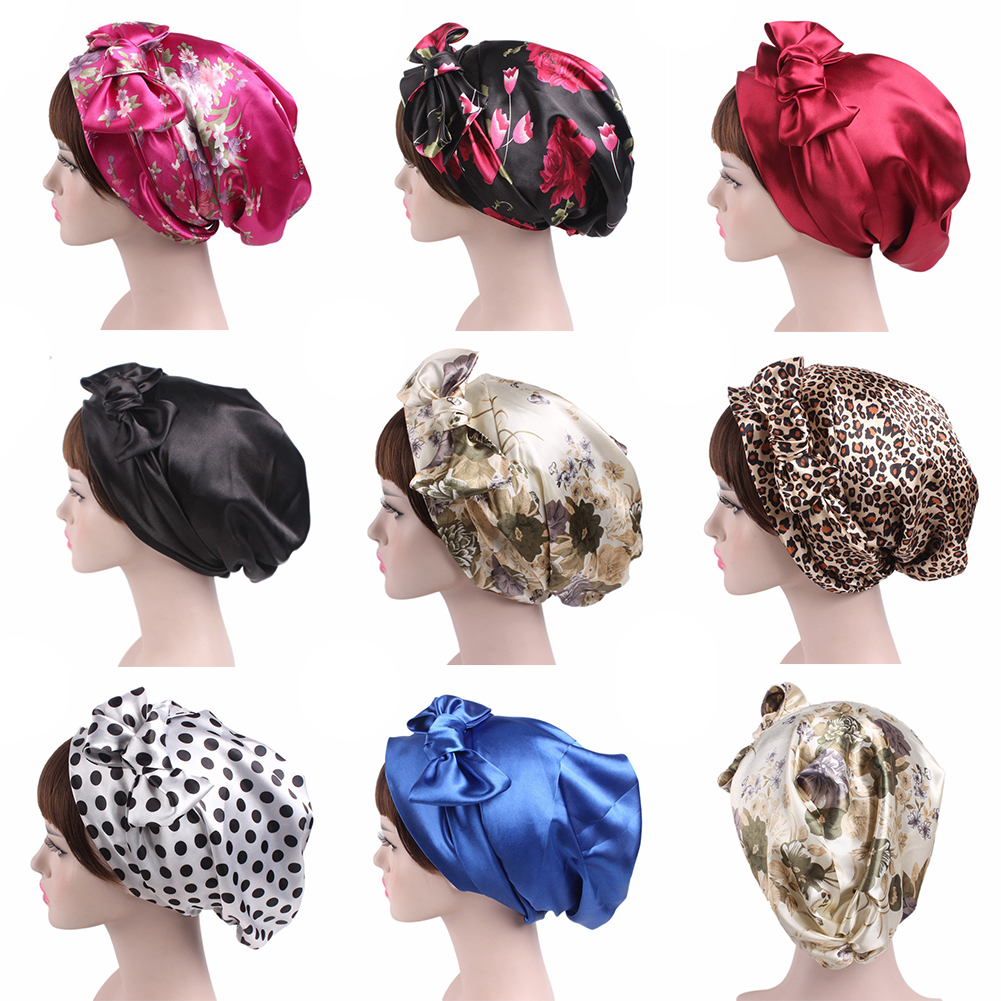 2019 Fashion Women Night Sleeping Cap Head Wrap Bowknot Turban Pre Tied Fitted Silk Satin Bandana Chemo Cap Head For Hair