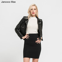Jancoco Max Genuine Sheepskin Leather Jackets Women Fashion Zipper Coat Spring Autumn High Quality Short Jacket