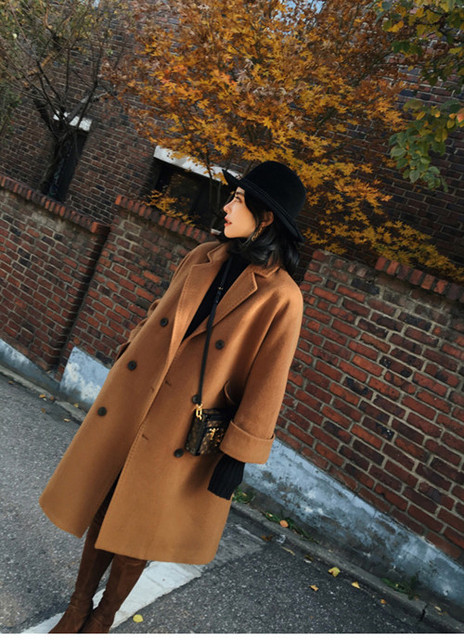 Wool Coat Girl Blends Parkas New Women's 2017 Spring Trench Autumn Winter 2016 Fashion Female Overcoat With Belt  Long
