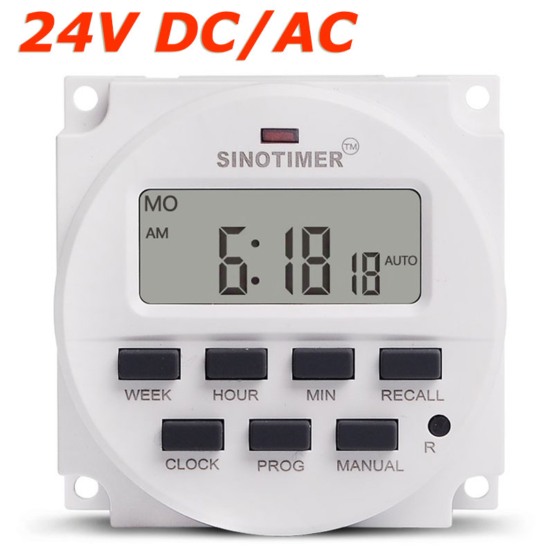 1.598 Inch LCD Big DISPLAY Timer 24V DC AC 7 Days Weekly Automatic Programmable Time Switch with UL listed Relay Inside manhua weekly programmable 220vac 25a electrical school bell timer 68 on duration 1 99 seconds program with lcd display ms316b
