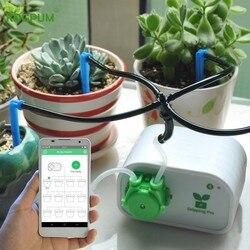 Control de teléfono móvil inteligente Control automático de riego de jardín plantas interiores Dispositivo de riego por goteo Sistema de temporizador de bomba de agua