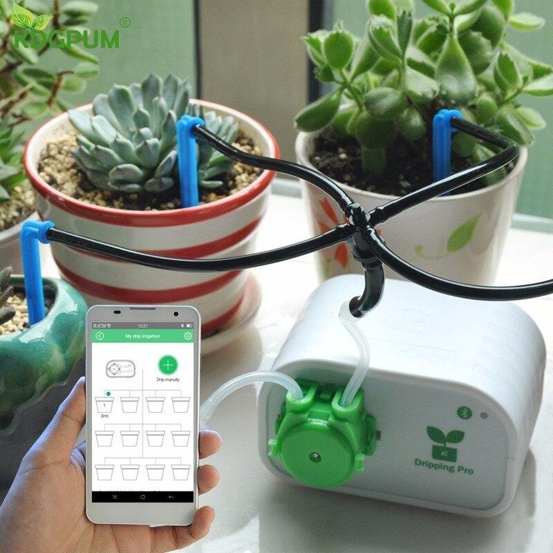 Téléphone portable Contrôle Intelligent Jardin Arrosage Automatique Contrôleur Intérieur Plantes Irrigation Goutte À Goutte Dispositif Pompe À Eau Minuterie Système