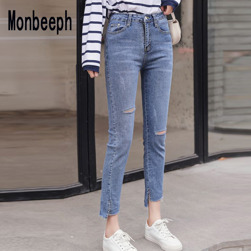 Monbeeph Ripped Jeans Pants Trousers Hole Stretch Denim Women Skinny Casual Fashion Lady